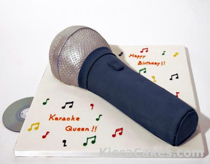 109 Microphone cake. For a Karaoke party for a singer birthday. Whatever the occasion, whether it be a christening, baptism, confirmation, first communion or Christmas let us create a novelty cake for this special occasion. Complete our Quote Form with your requirements