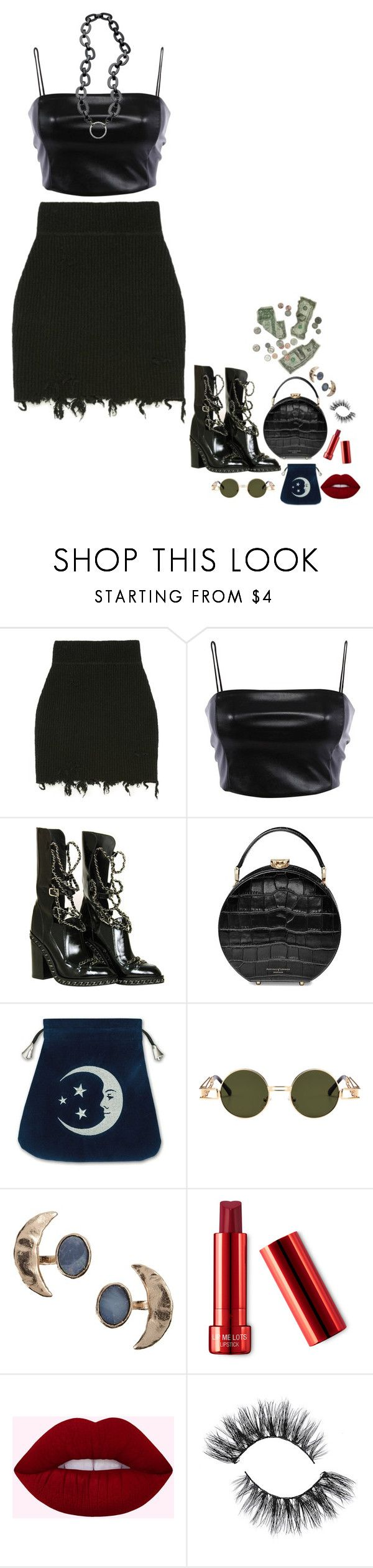 """small plastic bags in big dance clubs"" by vampirliebling ❤ liked on Polyvore featuring Chanel, Aspinal of London, La LOOP and Bjørg"