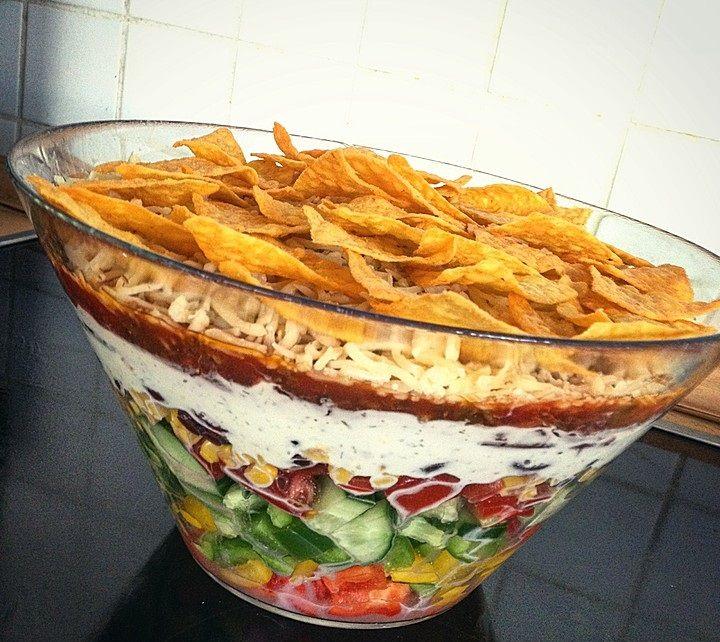 Zutaten 500 g Hackfleisch 1 Flasche Sauce (Texicana Salsa) 3 Paprikaschote(n), je eine rote, grüne und gelbe 1 Salatgurke(n) ...