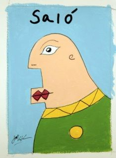 """Meet Salo, A new painting by John C. Kuchera. 5"""" x 7"""" 140lbs cold press paper. Acrylic and ink.  Free shipping."""