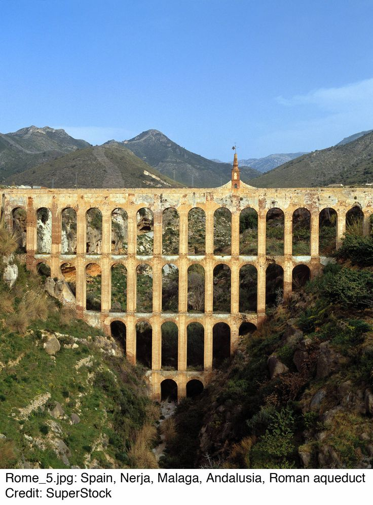 The Roman Aquaduct an advanced achievement in building a series of channels to bring water down into the cities from their sources.