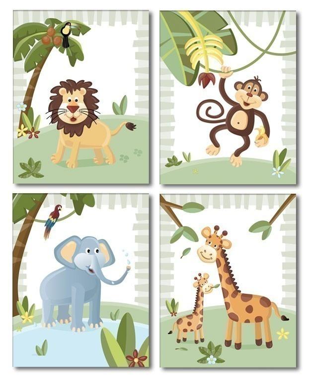 Jungle Animals / Set of 4 Art Prints for Nursery Kids Room. $24.90, via Etsy.