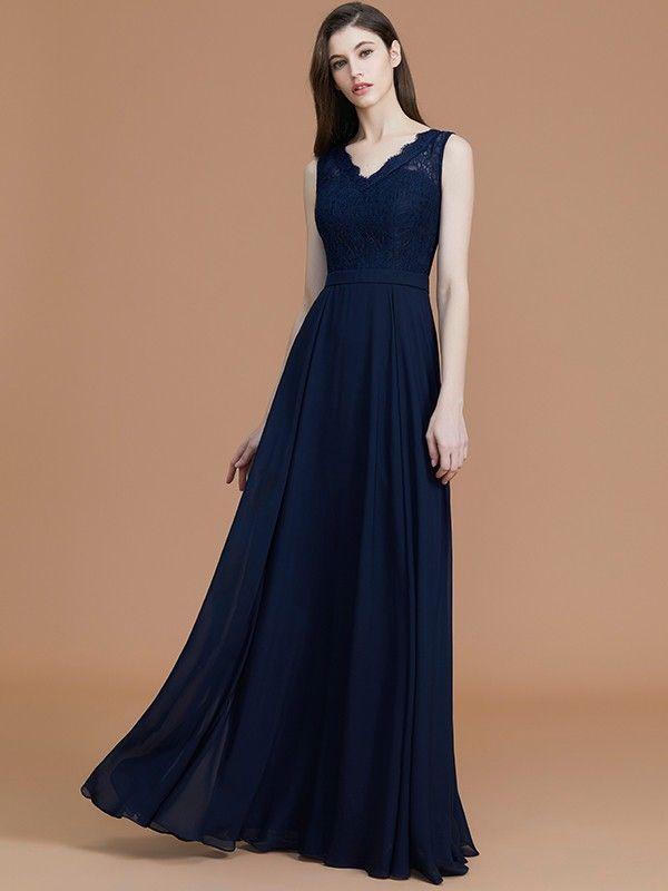 6054c55722c7 A-Line/Princess V-neck Sleeveless Floor-Length Lace Chiffon Bridesmaid  Dresses - Bridesmaid Dresses - Hebeos Online, Spring, Summer, Fall, Winter,  Chiffon, ...