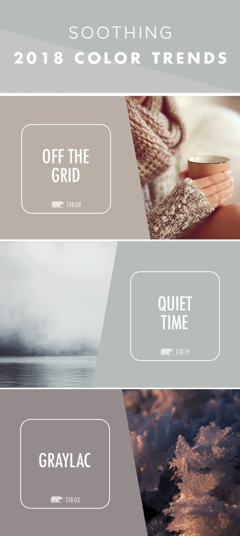 As the weather outside starts to cool down, bring a sense of warm coziness into your home with the help of these soothing BEHR 2018 Color Trends. BEHR Paint colors like Off The Grid, Quiet Time, and Graylac are neutral gray shades that can be used to create a relaxing color palette for your next DIY project. Click here to learn more.