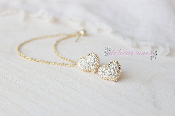 Dainty Rhinestone Heart Stud Chain Cartilage Earring / Cartilage Piercing