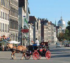 Calèche (horse-drawn carriage) tour in Montreal. Notre Dame Street, near Place Jacques-Cartier; De la Commune Street, near Place Jacques-Cartier; Place D'Youville, near the Pointe-à-Callière Museum