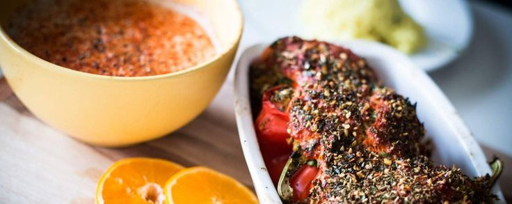 Gevulde paprika recept met seitan, kurkuma en rijst #amanprana #noblehouse #amanvida #bertyn #seitan #paprika #vegetarisch #bio
