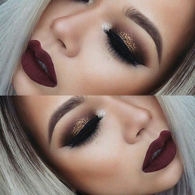 Vampire red lips gold shimmer glitter eyes