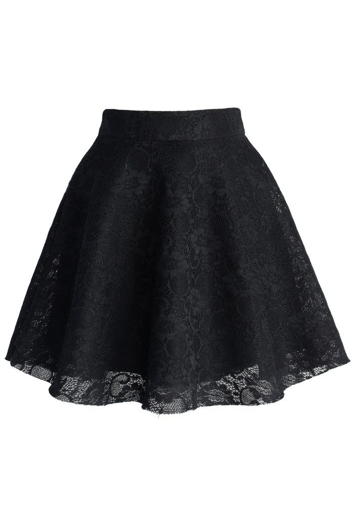 Black Full Lace Skater Skirt
