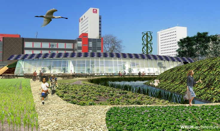 R'Ark  (Rotterdam Ark)  An ecologic environment in the heart of Rotterdam. R'Ark is a proposal to build two pavilions based on the principles of an Earthship; combining the best of nature with modern technology to be self-sustaining.
