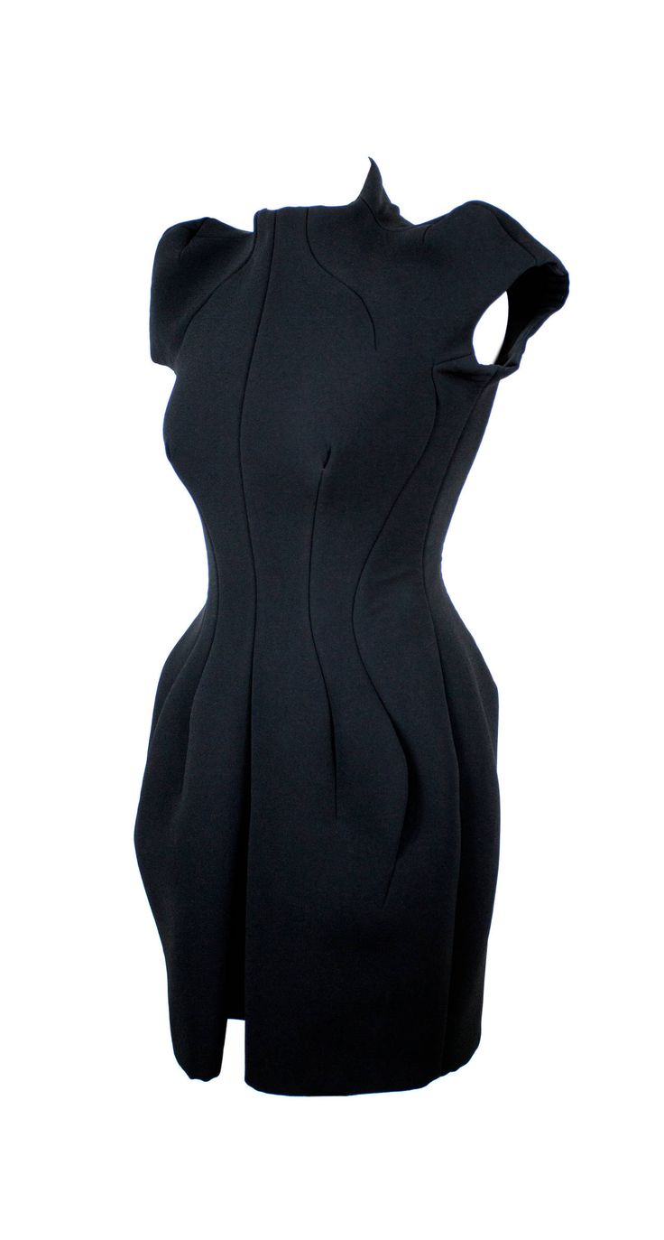 Vintage Balenciaga by Nicolas Ghesquière Diabolic black fitted dress