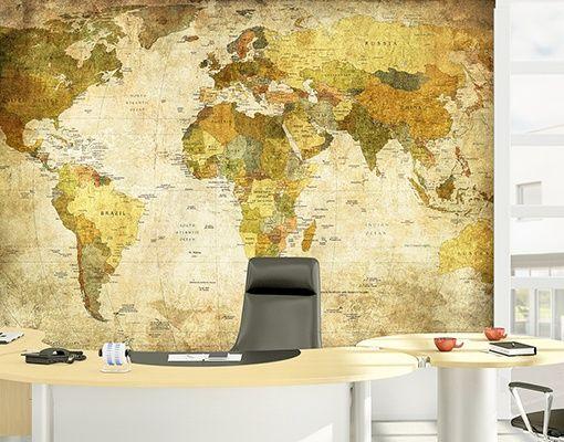 Mantiburi wereldkaart Fotobehang World Map 255