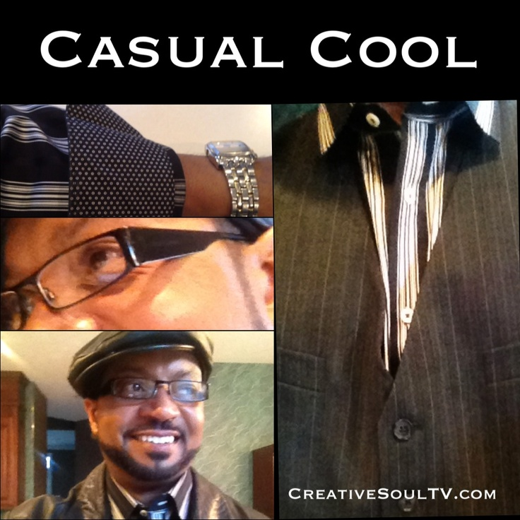 Today, I decided to wear my black #leather #jacket #kangol #cap with black #leather #shoes to compliment my dark #jeans ✨ 5 button dark pinstripe gray/black #vest with 3 pockets & matching black/gray strip #shirt with polka-dotted cuff #design ✨ #glasses by #Dolce #Gabbana #casual #cool #menswear #creativesoultv #dayinthelife #iphone #clothes #casualcool #fashion #vlog