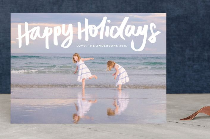 """Happy Holidays"" - Holiday Photo Cards in snow by Phrosne Ras. #merry #happyholidays #foil #gold #rosegold #merrychristmas #photocards #minted #holidayscards #cards #christmas #holiday #happynewyear #cheers #love #merrybright #religious #bright #joy #clean #simple #modern #elegant #glitter"