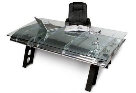 Recycled airplane wing desk