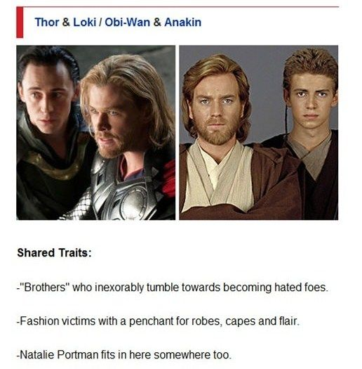 Star Wars and Avengers Comparison: Obi-Wan & Anakin/Thor & Loki