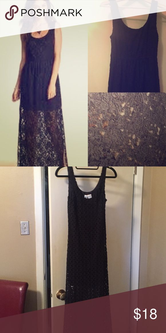 ❗️Black lace tank maxi dress‼️ markdown Black lace tank maxi dress.   Lined to about the thigh.  The dress was more fitted on me than in the photo. So cute with cowboy boots Mimi Chica Dresses Maxi