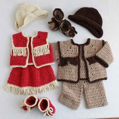 Baby Cowboy and Cowgirl Set Crochet Pattern