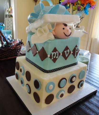 Seriously want my MIL to make  this cake for my shower!!! Baby Shower Cake for Boy