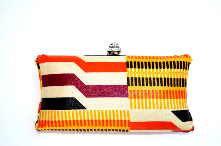 Orange Kente African Purse, Fabric Formal Clutch -Bridesmaid Clutch-Bridesmaid Gift-Wedding Clutch Purse, More African Prints Available