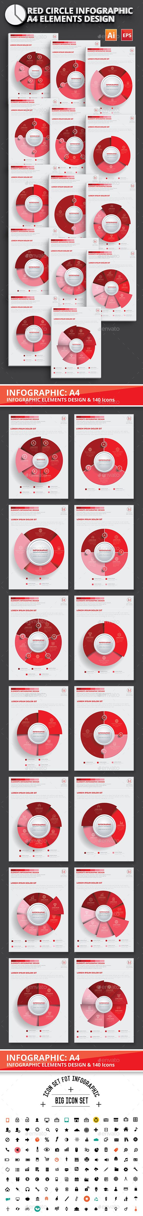 Red Circle Infographic Design Templates Vector EPS, AI Illustrator. Download here: http://graphicriver.net/item/red-circle-infographic-design/16707337?ref=ksioks