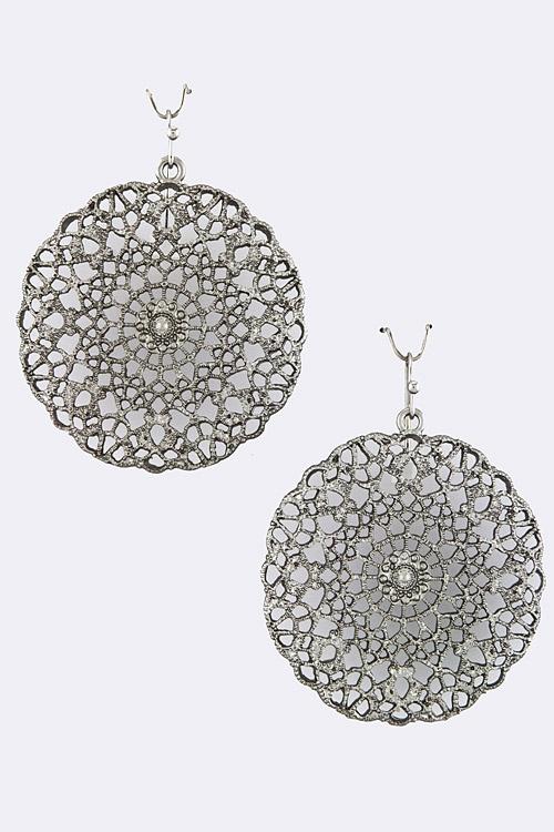 Metal Pattern Cut Earrings