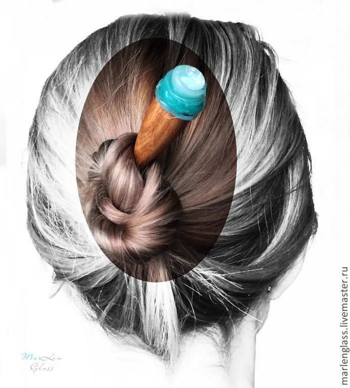 Палочка для волос - Ледяная - artisan lampwork, handmade glass and wood hair stick, MarLen Glass
