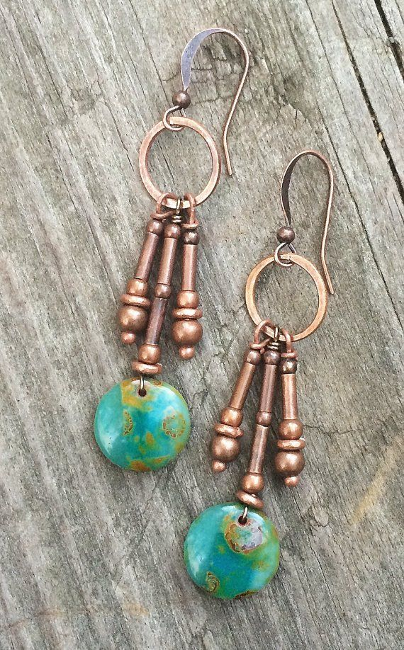 Copper dangle earrings, drop earrings, boho earrings, boho jewelry, green earrings