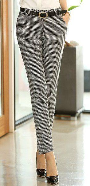 Chic Stye Straight Leg Houndstooth Pocket Pants