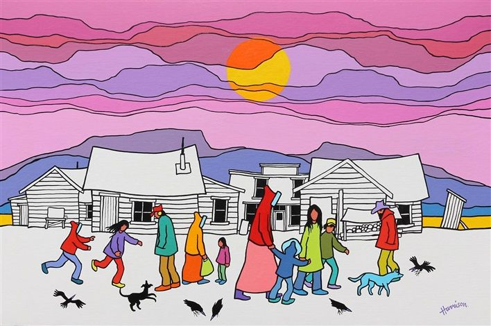 Village Wanderers by Ted Harrison