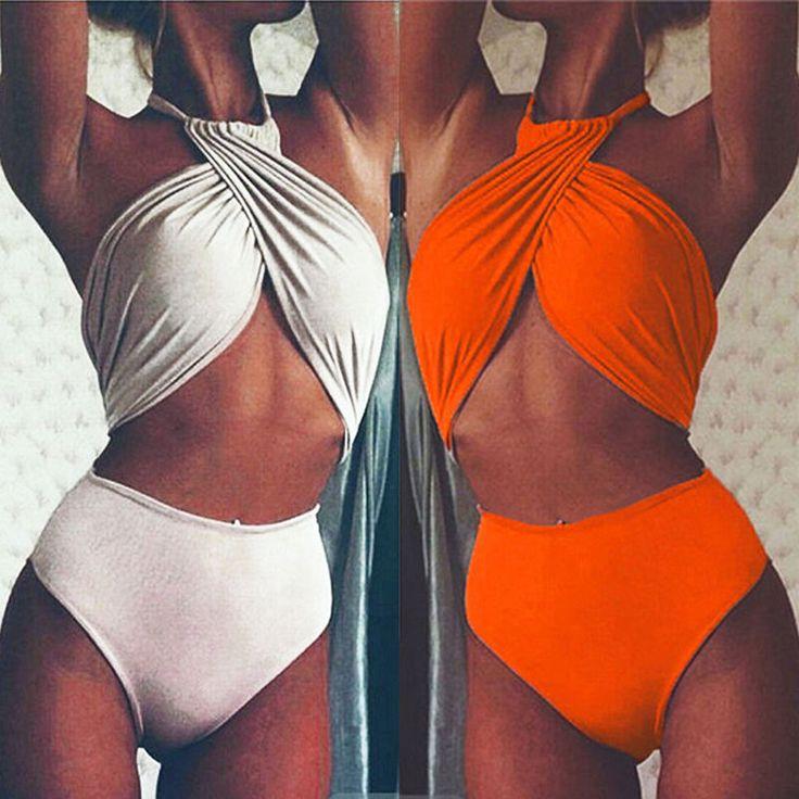 One-Piece Ladies Womens Swimwear Swimsuit Monokini Push Up Padded Bikini Bathing…