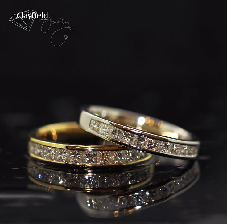 Our gorgeous princess cut channel set wedding bands, stunning in yellow or white gold.