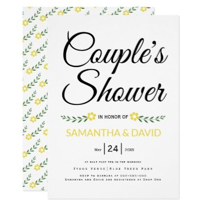 Modern typography yellow couples shower wedding card - calligraphy gifts custom personalize diy create your own