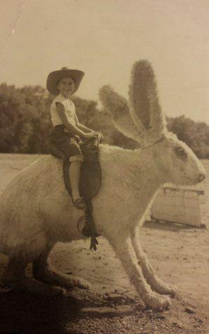 Un ragazzino in sella a uno strano coniglio gigante, 1956