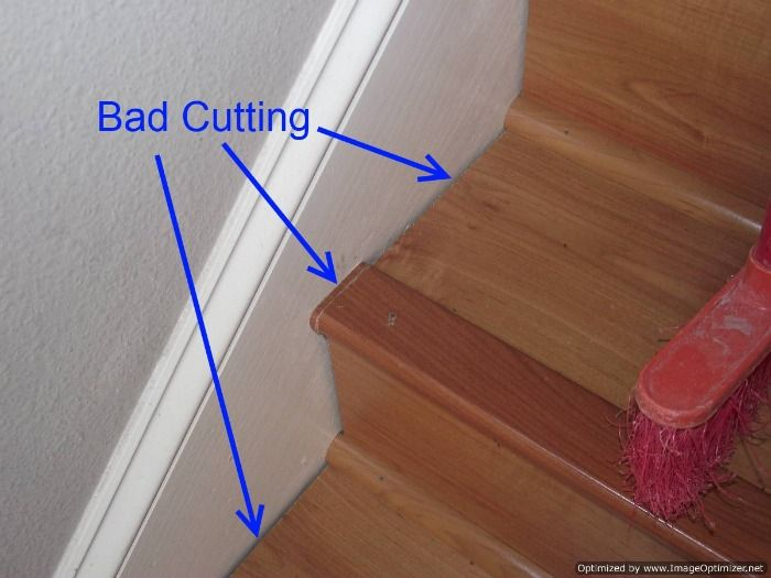 Bad Laminate Stair Installation It Shows Gaps Where The