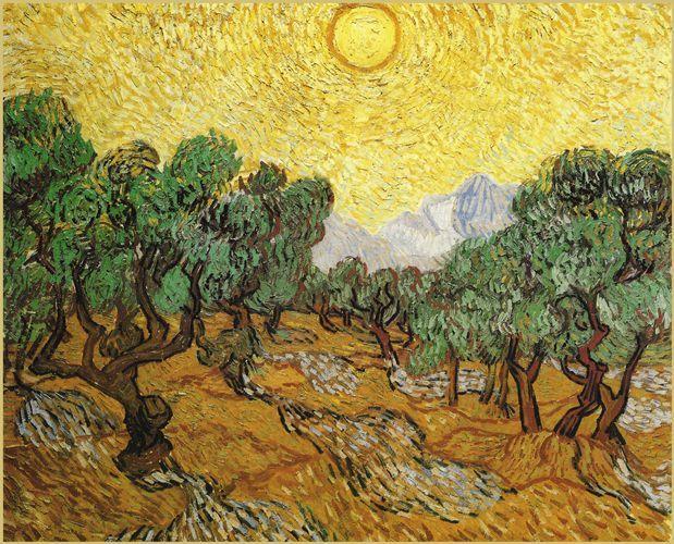 Ulivi con cielo giallo e sole - 1889 - Van Gogh - Opere d'Arte su Tela - Listino prodotti - Digitalpix - Canvas - Art - Artist - Painting
