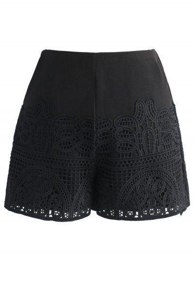 Crochet Feast Shorts in Black
