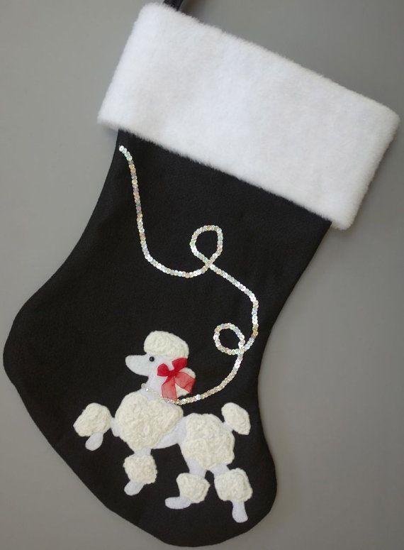 Prancing Poodle Christmas Stocking--Black or Green. Posted by Redlandspoodles.com