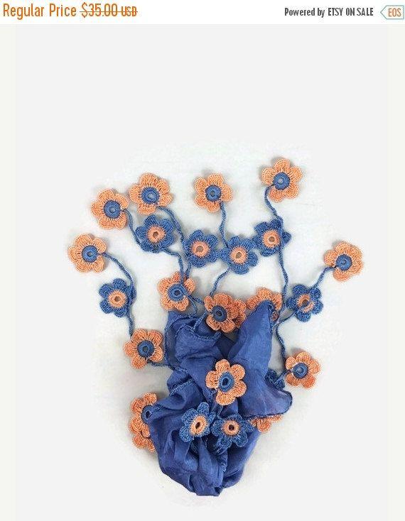 SALE 20% Blue Silk Scarf with Crochet Daisy Flowers - Womens Silk Foulard - Blue Scarflette - Turkish Oya Scarf - Summer Trendy Scarf
