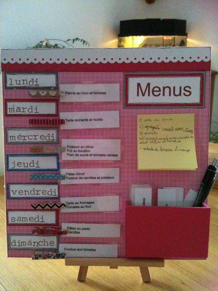 Tableau des menus de la semaine en scrap. Avec un endroit pour noter les idées gourmandes à venir.