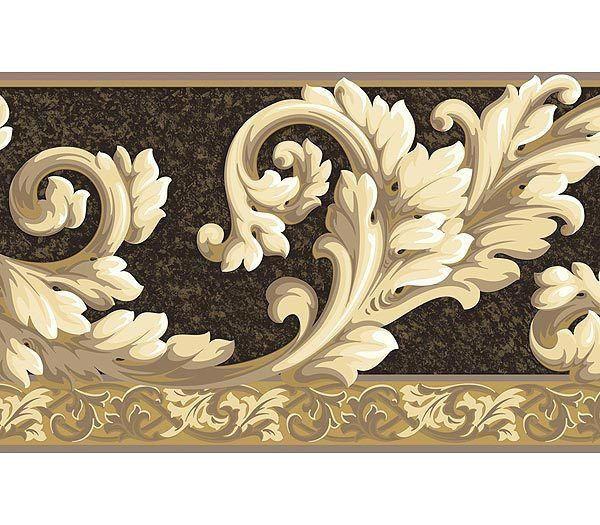 Interior Place - Acanthus Wave Taupe Black Wallpaper Border, $29.95 (http://www.interiorplace.com/acanthus-wave-taupe-black-wallpaper-border/)