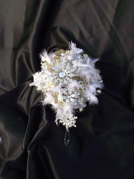 Ramo de Novia de Invierno copo de nieve, ramo de Novia de invierno, ramo de invierno, boda Navidad, borla bouquet, ramo de la boda de la pluma