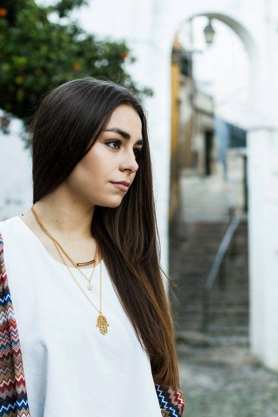 Layered Hamsa Golden Necklace by Hedarth on Etsy
