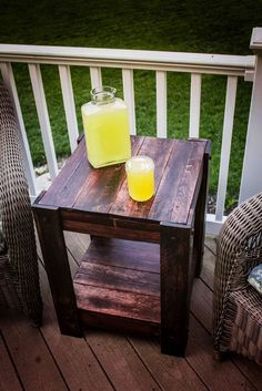 Pallet End Table   Easy DIY Pallet Outdoor Furniture by DIY Ready at http://diyready.com/diy-pallet-projects-outdoor-furniture/
