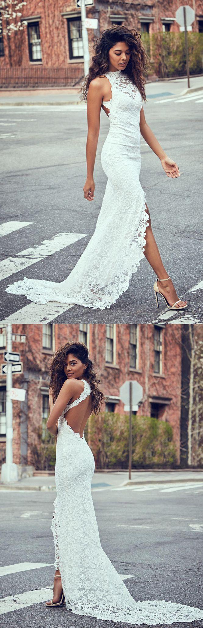 mermaid lace wedding dresses,open back long bridal gowns, simple split wedding dress