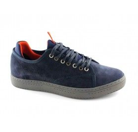 CAFè NOIR PB620 blu scarpe uomo sheakers elasticizzata pelle lacci