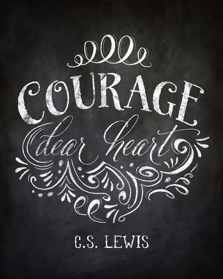 Courage Dear Heart CS Lewis Quote Chalkboard by InkLaneDesign