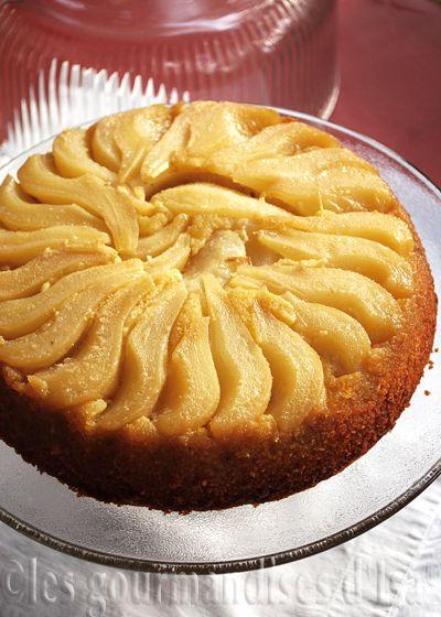 gâteau renversé (et renversant) aux poires et à la pâte d'amandes