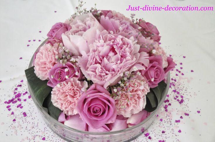 compositions florales roses pivoine oeillets gypsophiles