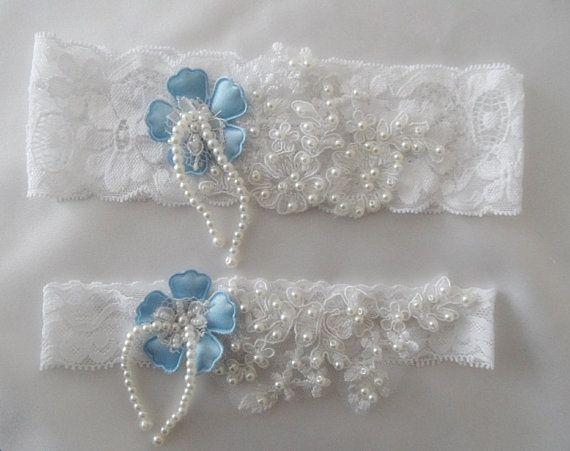 Wedding Garter, Wedding white Stretch Lace Garter,  Bridal Garters,something blue, free shıp